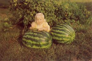 Baby Girl with Two Watermelons