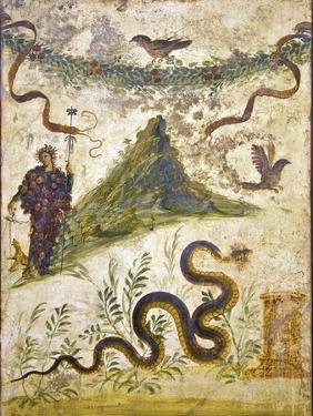 Bacchus Wearing Bunch of Grapes Pours Wine For Panther to Drink, From Pompeii