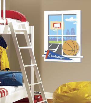 Backyard Basketball Peel & Stick Window Wall Decal