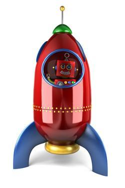 Happy Vintage Toy Robot Waving from inside a Toy Rocket over White Background by badboo