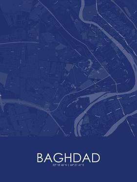 Baghdad, Iraq Blue Map