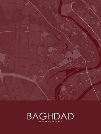 Baghdad, Iraq Red Map