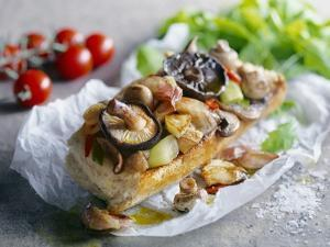 Baguette with Mushrooms and Onions