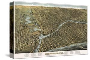 Bird's Eye Map of Milwaukee, Wisconsin, 1872 by Bailey