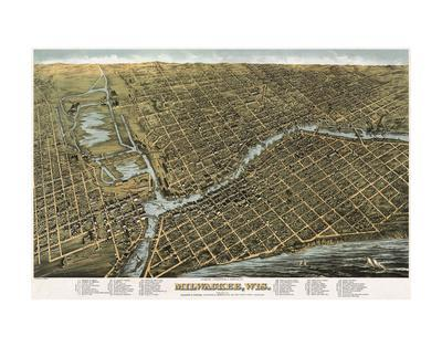 Bird's Eye Map of Milwaukee, Wisconsin, 1872