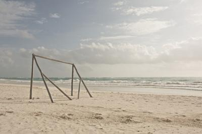 Wooden Soccer Net on Beach
