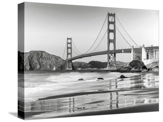 Baker beach and Golden Gate Bridge, San Francisco--Stretched Canvas