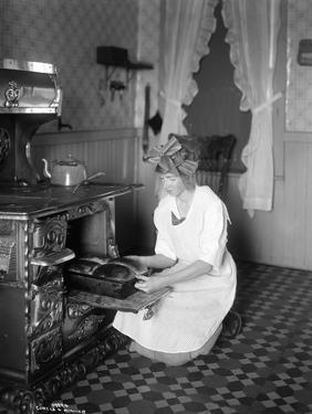 Baking Bread at Home for School Project, ca. 1914