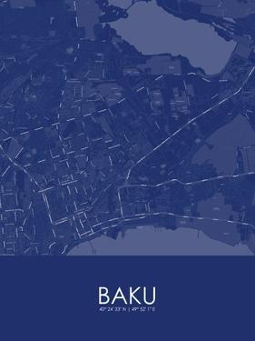 Baku, Azerbaijan Blue Map