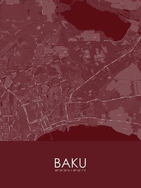 Baku, Azerbaijan Red Map