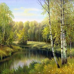 Autumn Landscape, Canvas, Oil by balaikin2009