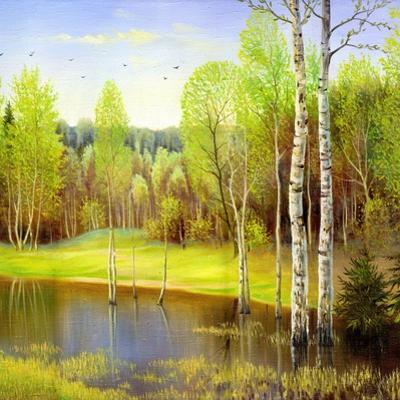 Autumn Landscape, Canvas, Oil by balaikin2009