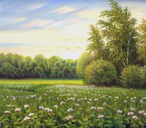 Beautiful Summer Landscape, Canvas, Oil by balaikin2009