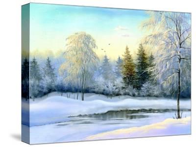 Not Frozen Lake In Winter Wood by balaikin2009