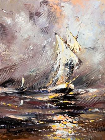 Sailing Vessel In A Stormy Sea by balaikin2009