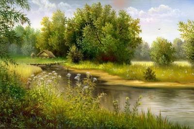 Summer Wood Lake With Trees And Bushes by balaikin2009