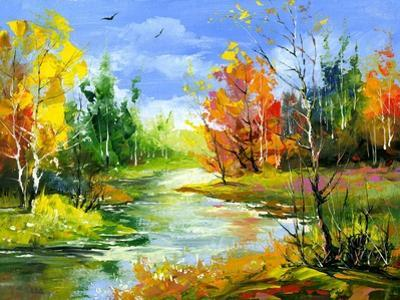 The Autumn Landscape Executed By Oil On A Canvas by balaikin2009