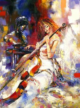 The Girl Plays A Violoncello by balaikin2009