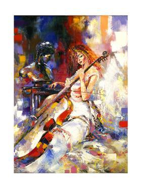 The Girl Plays A Violoncello by balaikin2009