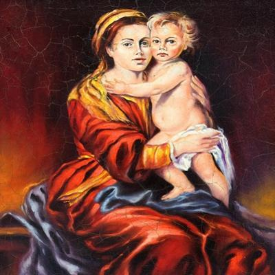 The Madonna With The Child, Drawn By Oil On A Canvas by balaikin2009