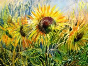 The Sunflowers Drawn By Gouache On A Paper by balaikin2009