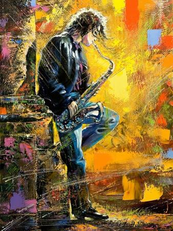 The Young Guy Playing A Saxophone by balaikin2009