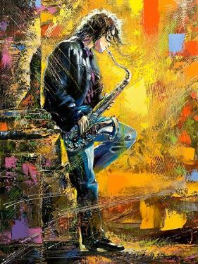The Young Guy Playing A Saxophone by balaikin2009