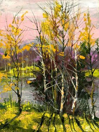Trees And Bushes On The Bank Of The River by balaikin2009