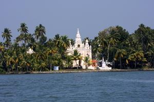 Church on the Shores of Ashtamudi Lake, Kollam, Kerala, India, Asia by Balan Madhavan