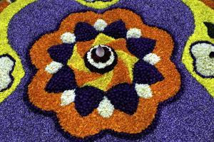 Floral Decorations During Onam Festival, Kerala, India, Asia by Balan Madhavan