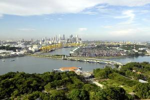 View of Singapore from Carlsberg Tower in Sentosa, Singapore, Southeast Asia, Asia by Balan Madhavan