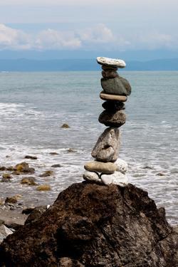 Balancing Rocks Near Ocean Photo Poster Print