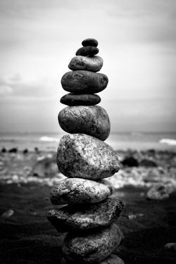 Balancing Rocks on Beach Black White