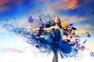 Ballerina & Blue Painted Dress