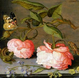 A Still Life with Roses on a Ledge by Balthasar van der Ast