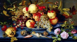 Still Life with Fruit, Flowers and Seafood by Balthasar van der Ast