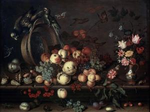 Still Life with Fruits, Flowers and Parrots, 1620S by Balthasar van der Ast