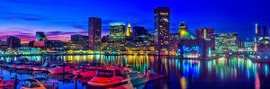 Baltimore Harbor by night, Baltimore, Maryland, USA