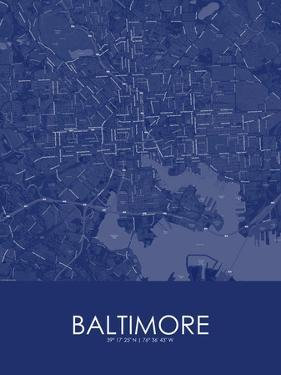 Baltimore, United States of America Blue Map