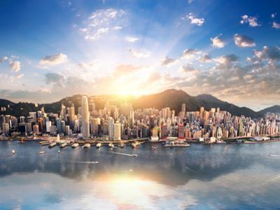 Hong Kong Skyline. Hongkong Hdr Aerial Cityscape with Sunset Sun. Amazing Panorama of Buildings And