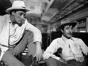 Bandido caballero by Richard Fleischer with Robert Mitchum and Gilbert Roland, 1956 (b/w photo)
