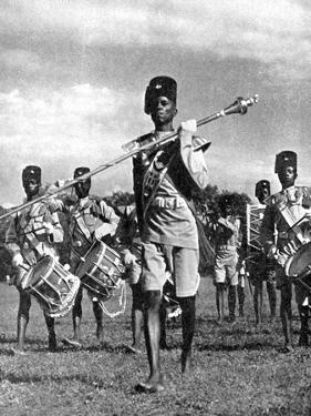 Bandsmen of the Northern Rhodesia Regiment Beat a Military Tattoo, Zimbabwe, Africa, 1936