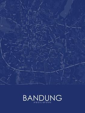 Bandung, Indonesia Blue Map