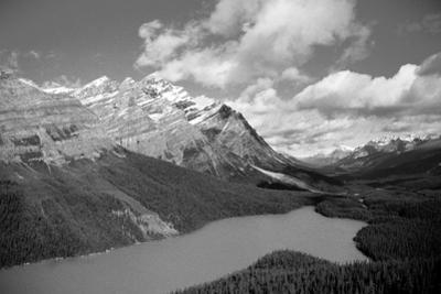 Banff Peyto Lake in Canadian Rockies Black White Photo Print Poster