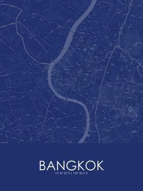 Bangkok, Thailand Blue Map