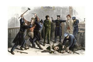Bank Robbers Arrested by Police in a New York City Bank, 1870s