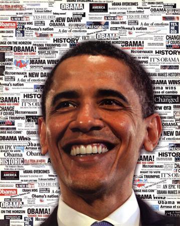 Barack Obama Headlines Art Print Poster