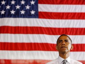 Barack Obama in front of US Flag, Flint, MI