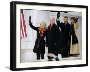 Barack Obama, Joe Biden and Their Wives Wave During the Inaugural Celebration at Lincoln Memorial
