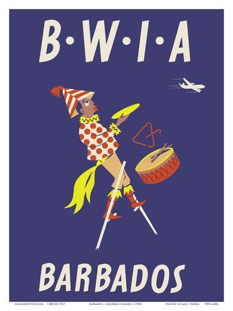Travel print United Kingdom to Barbados Poster